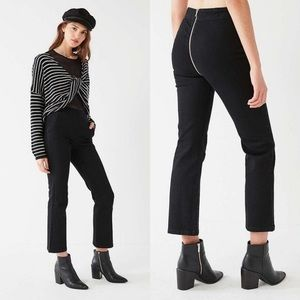 BDG UO Black Kick Flare High Rise Crop Zip Jeans